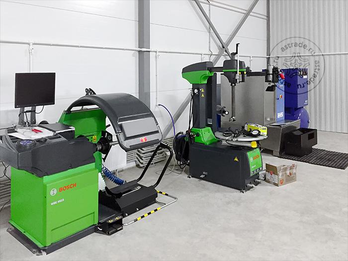 Балансировочный станок Bosch WBE 4515, Bosch TCE 4475 и сопутствующее оборудование